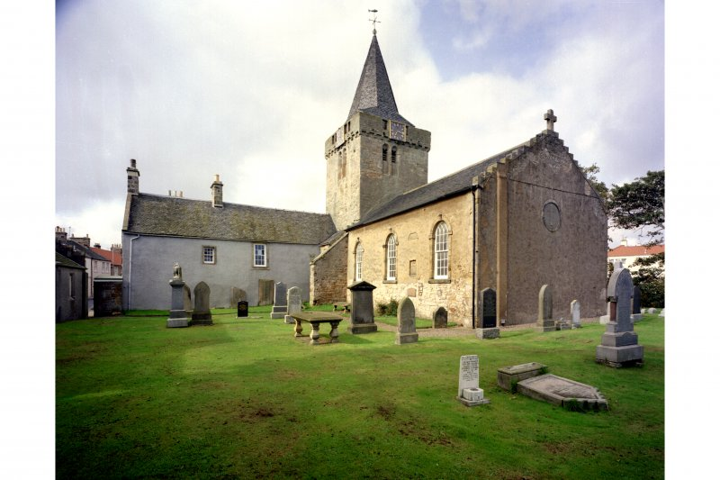 General view from east of Tolbooth Church and Churchyard