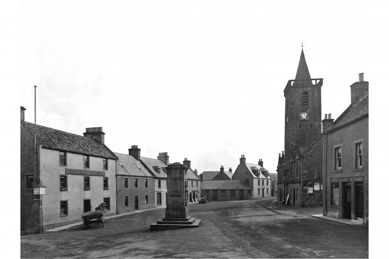 General view from west showing War Memorial and Town Hall