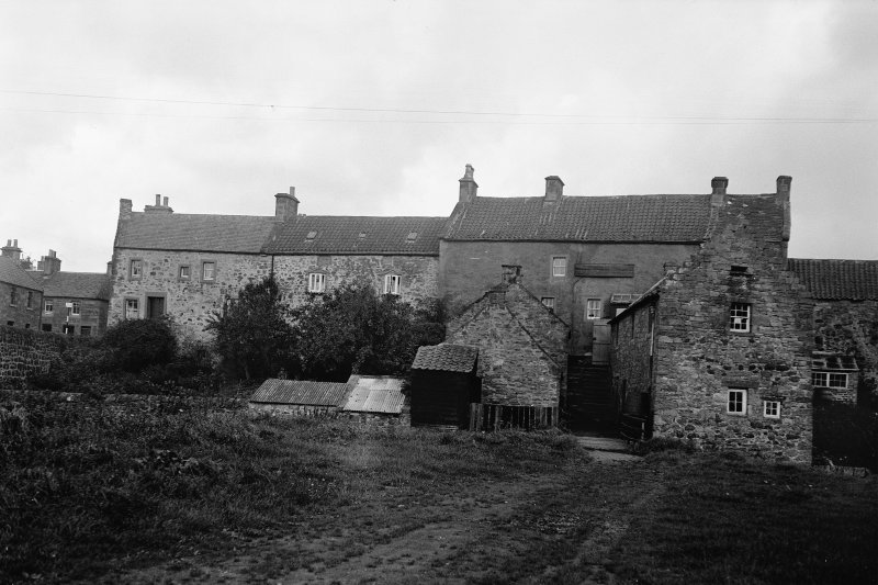 Rear view of houses in High Street which now form part of the Folk Museum