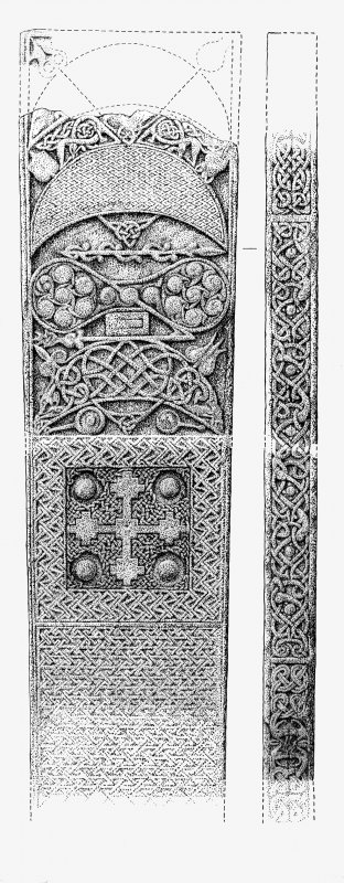 Measured drawing of the reverse and edge of the Rosemarkie Pictish cross-slab.