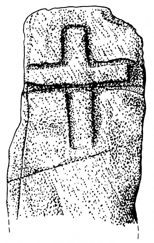 Drawing of carved stone