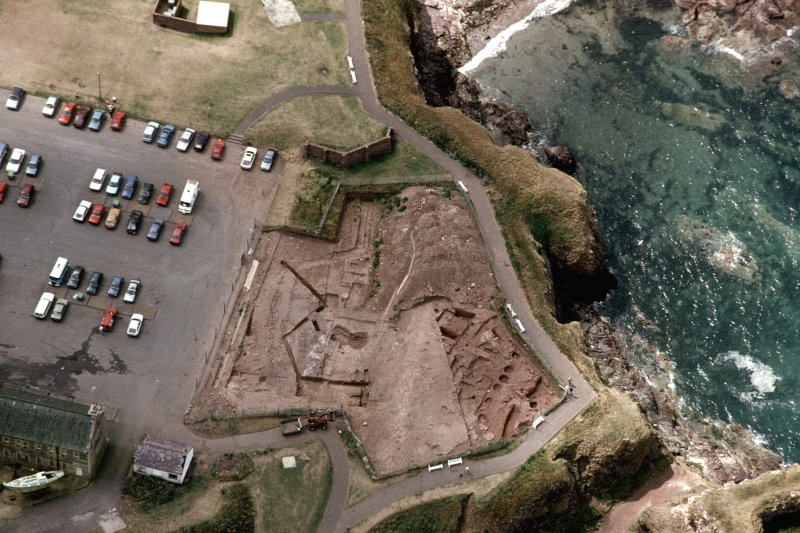 Oblique aerial view of excavations.