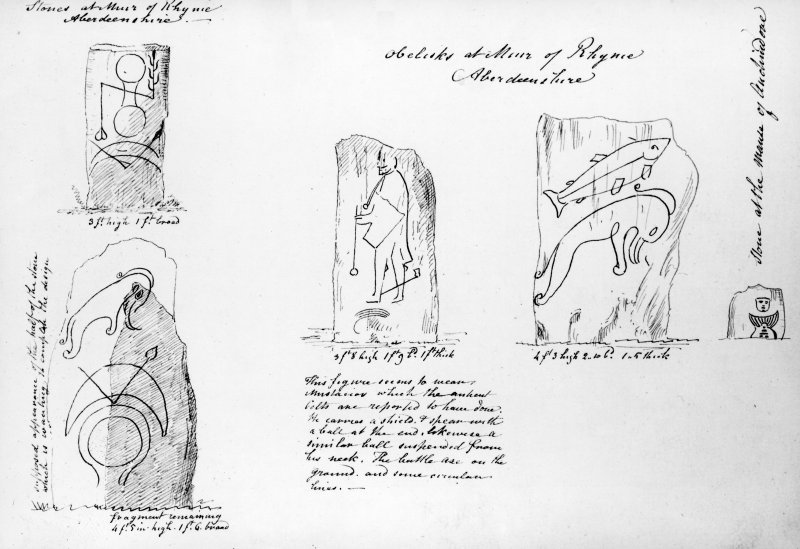 Drawing of Rhynie Pictish symbol stones (Nos. 1-4)