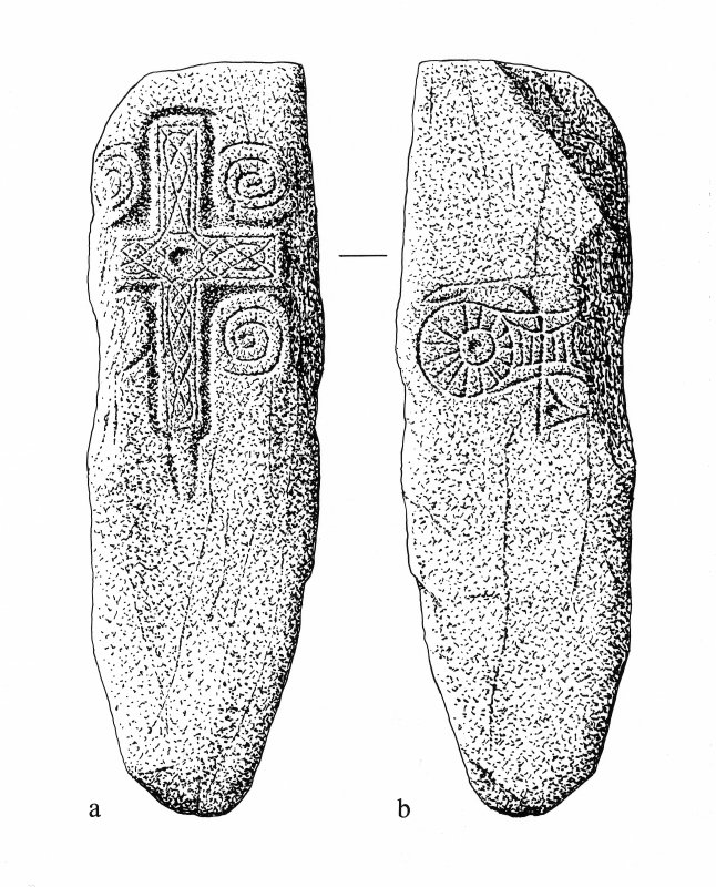 Drawing of faces of cross-slab.