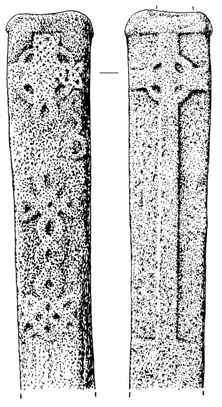 Elongated cross-slab, view of both faces.