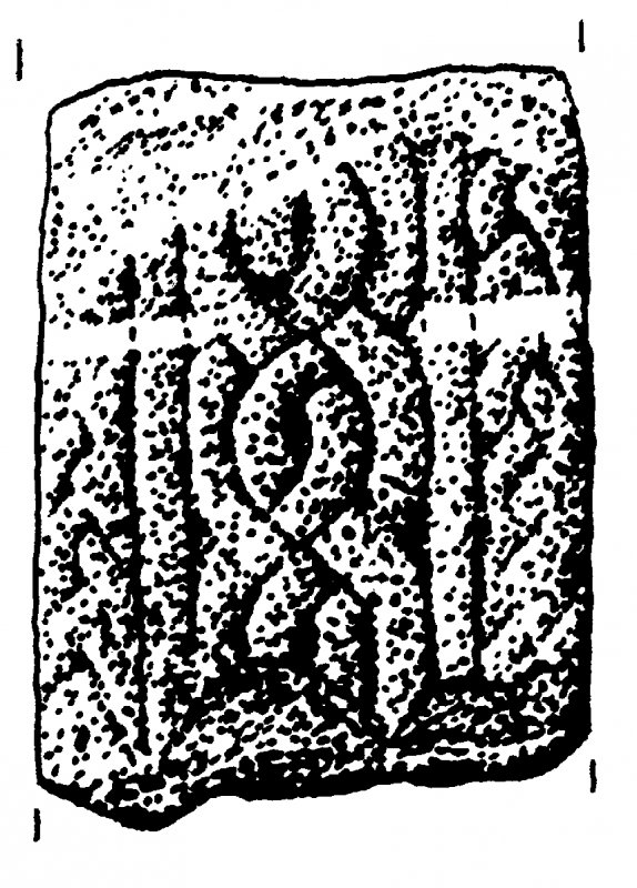Fragment, bearing interlace designs.