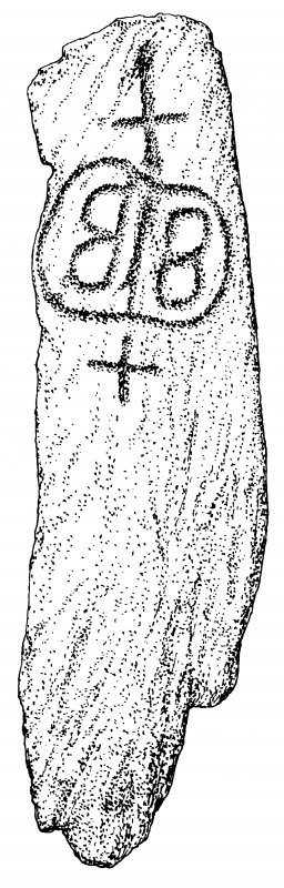 Publication drawing; cross-marked stone, Leac an Duine Choir.