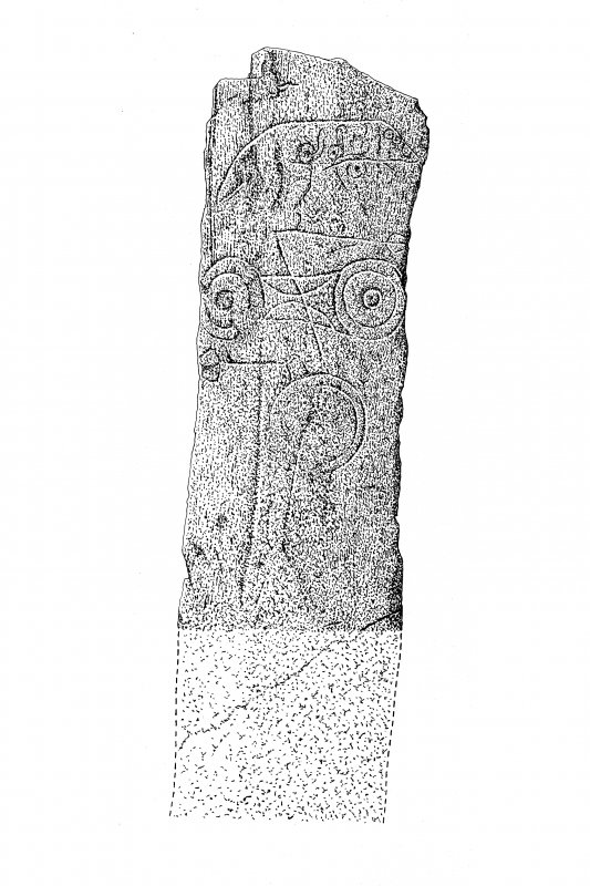 Drawing of face of symbol stone. Reduced PMT copy of DC25221.