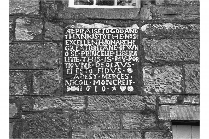 Detail of plaque dated 1610 at Moncrief House, High Street, Falkland