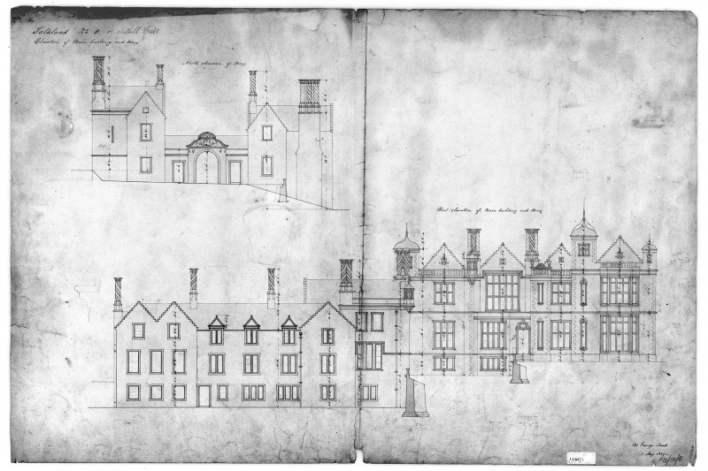 West elevation of main building and wing, North elevation of wing showing dimensions Insc: '131 George Street 7 May, 1839'