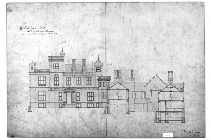 Photographic copy of North or Entrance elevation and section through wing with dimensions. Insc: '131 George Street, 9.5.1839' Ink