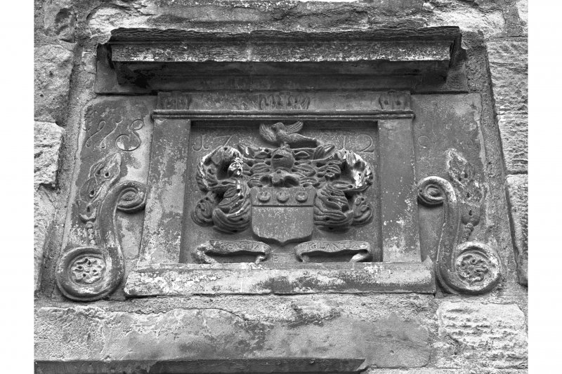 View of sculptured armorial panel dated 1712, Brunton House, Brunton Street, Falkland.