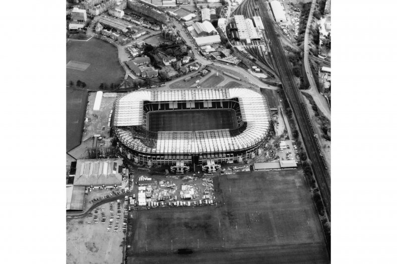 Aerial view of Murrayfield Stadium, also showing Roseburn House and Murrayfield Ice Rink