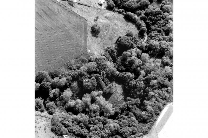 Scanned image of an oblique aerial view. Cropped image.