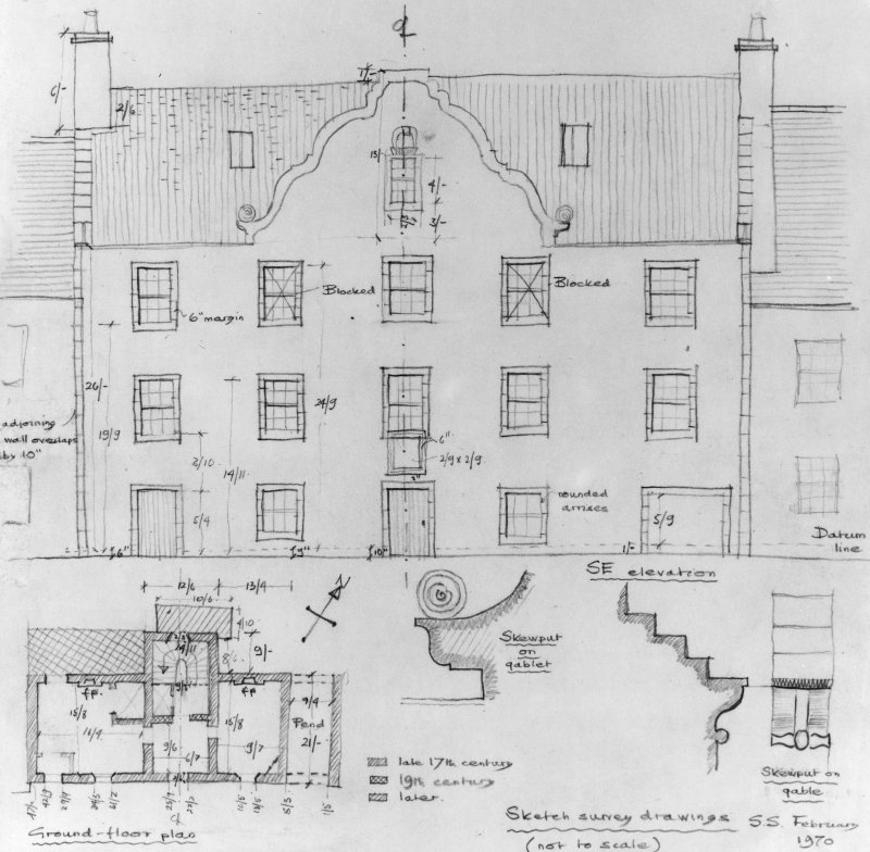 Sketch survey drawings (not to scale but with some dimensions).  Ground floor plan; elevation showing fenestration and door; skewputs; mouldings.