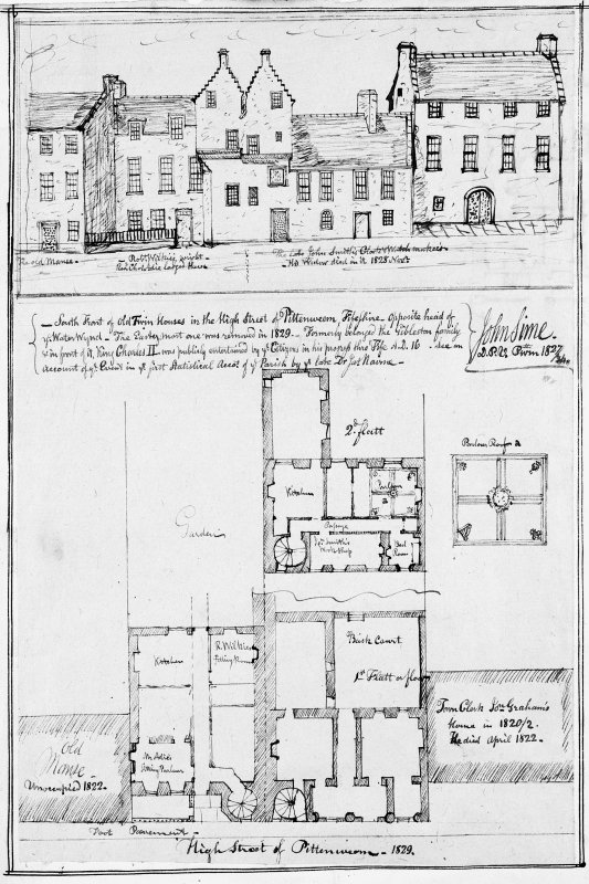MEMORABILIA, JOn. SIME EDINr. 1840.   Photographic copy of ink plan and elevation drawings. Titled: 'High Street of Pittenweem 1829.' Insc. 'South Front of Old Twin Houses in the High Street of Pittenweem, Fifeshire - opposite head of ye Water Wynd-The Eastern most one was removed in 1829 -Formerly belonged to the Gibleston Family and in front of it, Charles II was publicly entertained by ye citizens in his progress thro' Fife AD 16. See an account of  ye Event in ye first Statistical Accot of ye Parish by ye late Dr Nairn - John Sime, 1827.'