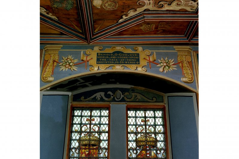 Falkland Palace, Interior, painted decoration over window in Chapel