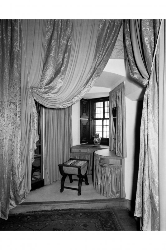 View of bedroom showing the interior of the turret, 2nd floor of the Gatehouse
