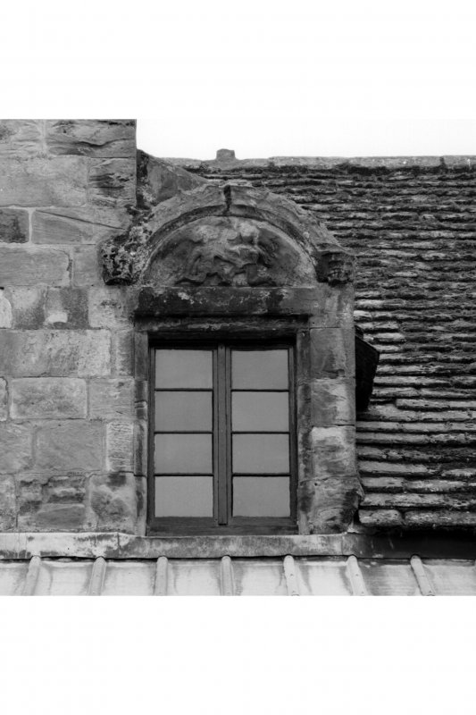 View of dormer window, North front, South range