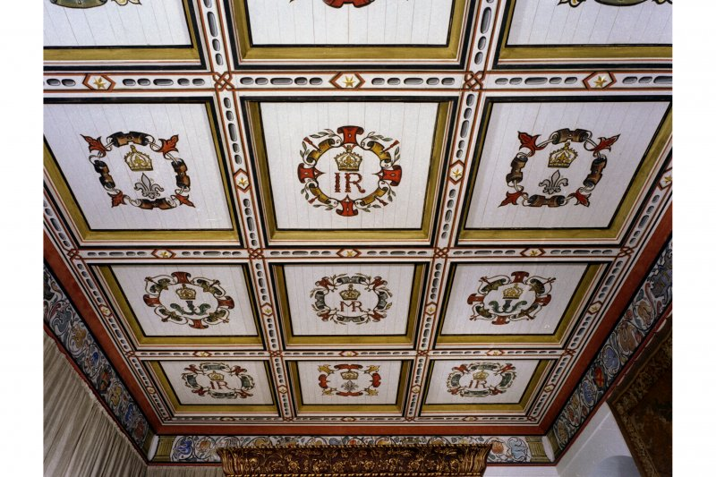View of King's Bedroom ceiling, Cross-house, East range. Falkland Palace.