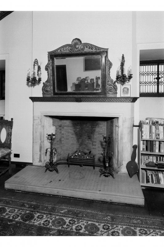 View of fireplace on South wall of South room, 3rd floor of the Gatehouse