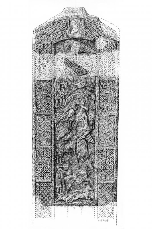 Drawing of Nigg Pictish cross-slab. (Reverse)