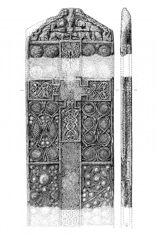 Drawing of Nigg Pictish cross-slab. (Front)