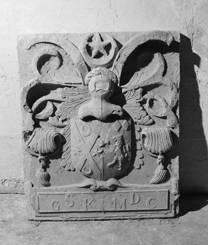 Detail of armorial panel, Rossie Church.
