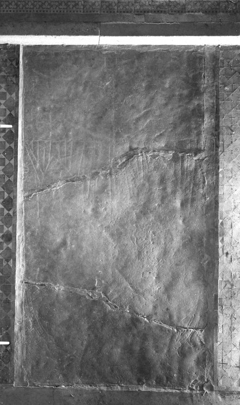 Detail of markings on grave-slab, Rossie Church.