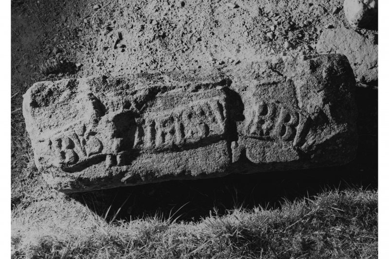 Kilspindie Manse. Detail of inscribed stone in grounds of manse.