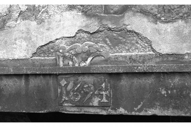 Old Mains of Rattray House, interior Detail of datestone above fireplace, d.1694.