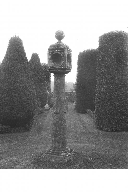 View of sundial at Dowery House, Stobhall Castle.