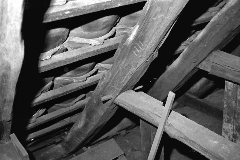 14 Fitzroy Square, St. David's. Detail of interior of roof, showing joint in truss.