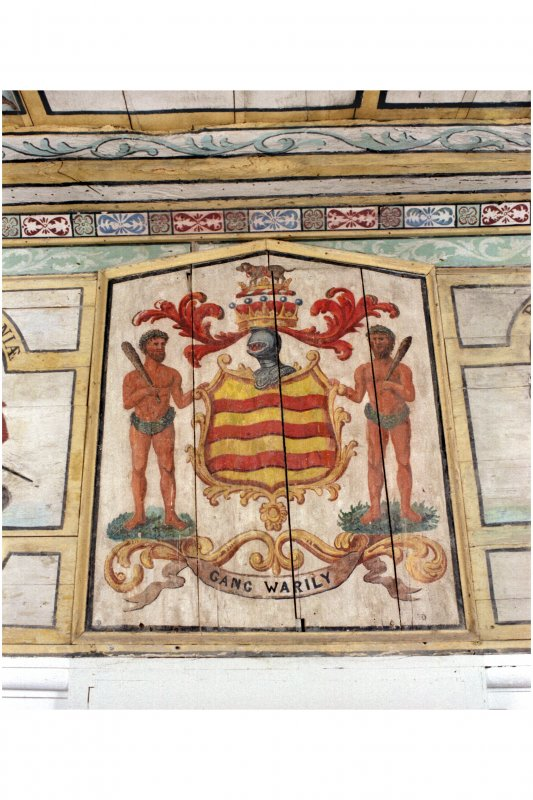 Interior. Detail of painted armorial panel in chapel.
