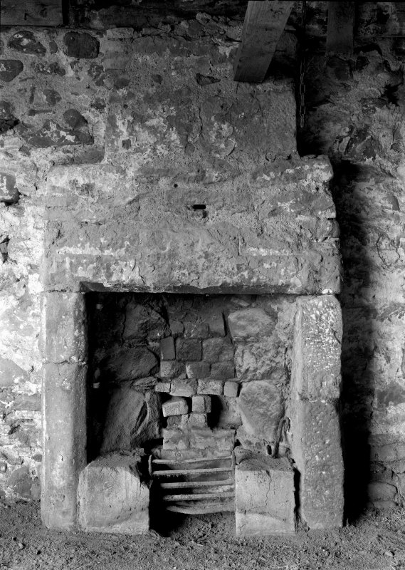 Old Mains Rattray View of armorial lintel over fireplace.