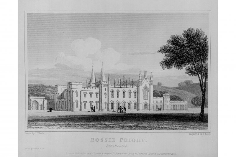 Photographic copy of etching of view of Rossie Priory, copied from 'Views in Scotland'.