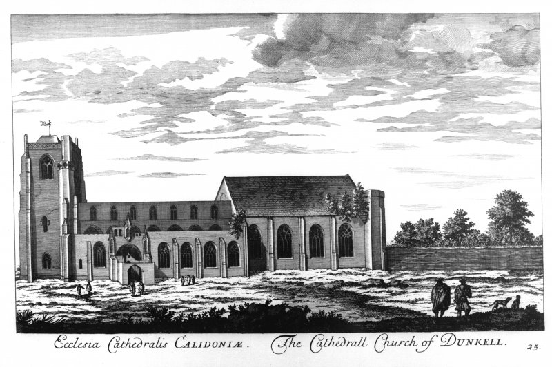 Dunkeld, Dunkeld Cathedral. View of Dunkeld Cathedral from South copied from 'Theatrum Scotiae' by John Slezer. Titled: 'Ecclesia Cathedralis CALIDONIAE. The Cathedrall Church of DUNKELL. 25'