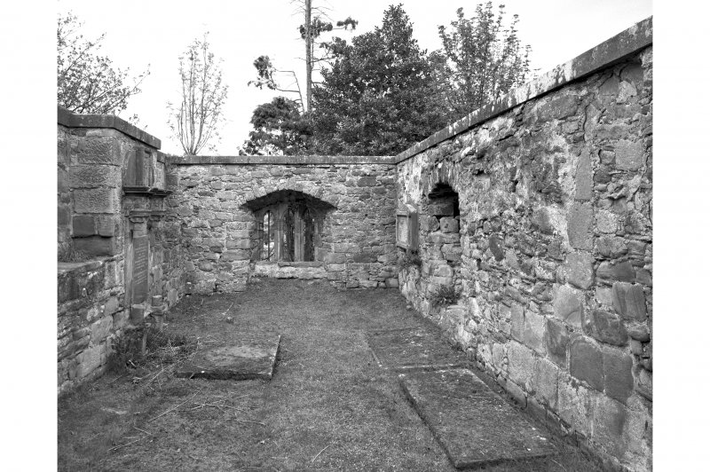 St. Duthus's Church, Castle Brae. View of roofless interior from West.