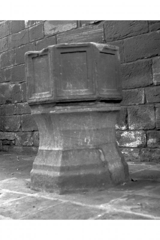 Fortrose Cathedral, Cathedral Square. View of font.