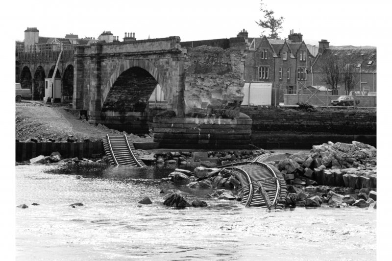 Ness Viaduct. View after collapse from North West.