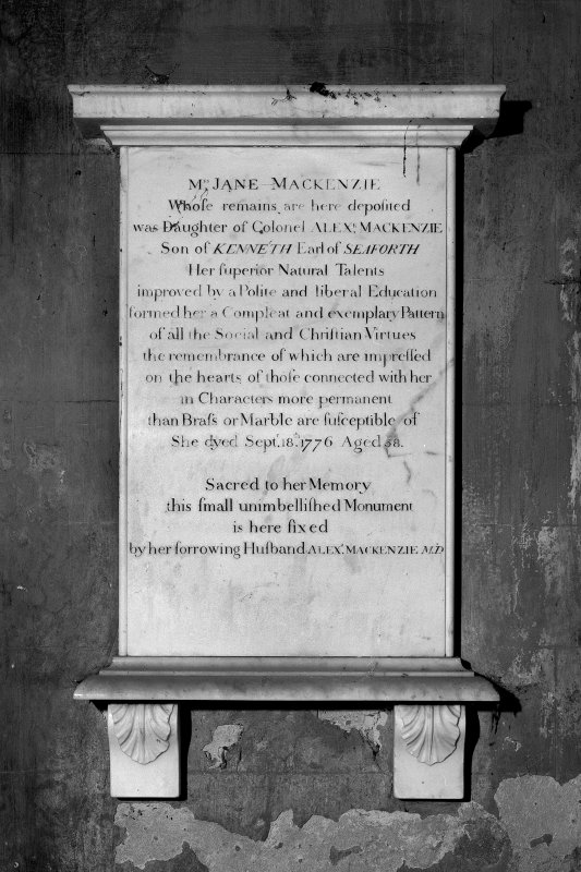 Detail of Jane Mackenzie's memorial in crypt