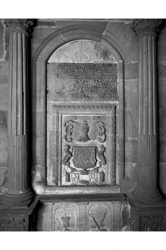 Interior-detail of armorial in centre of Cromarty monument