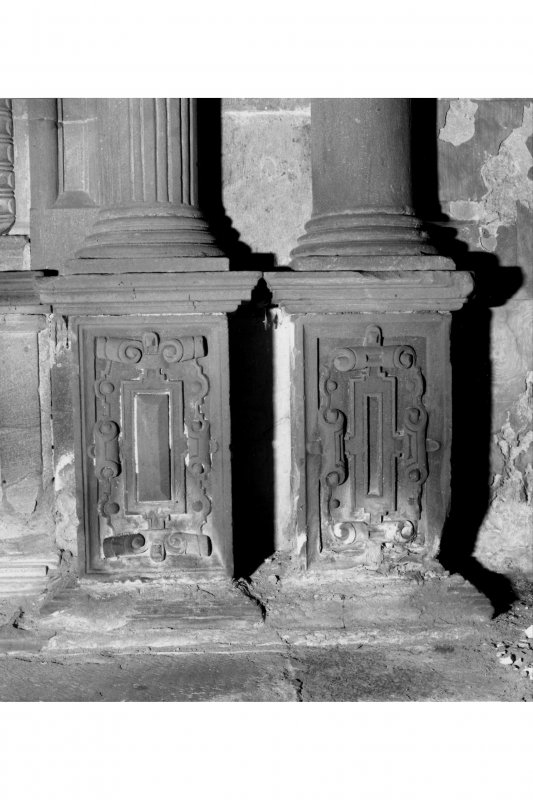 Interior-detail of base of columns on monument in crypt