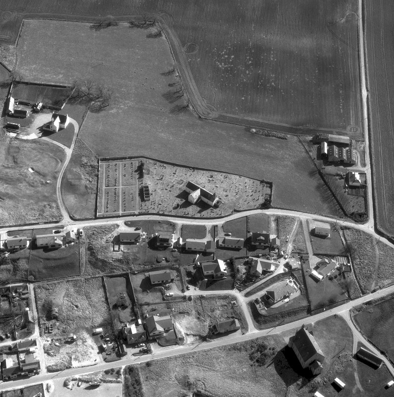 Aerial view of Tarbat West Church and churchyard, Portmahomack, where 9th Century carved stones discovered.