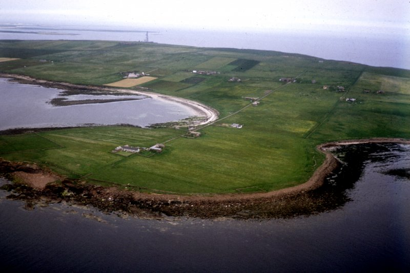 Aerial view of Sanday, Pool, site of Pictish symbol stone discovery.