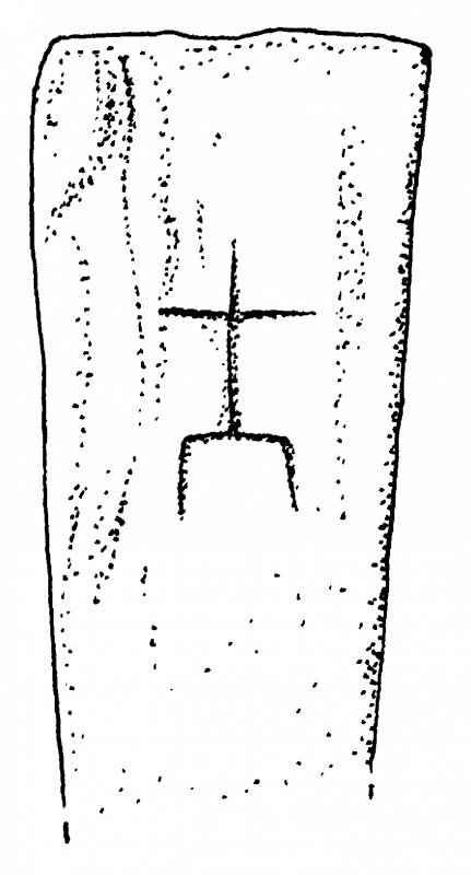 Digital copy of drawing of Eilean Fhianain incised cross-marked slab (no.1).