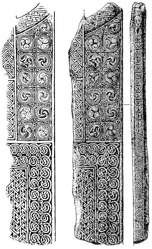 Digital copy of drawing of Applecross cross-slab fragments (nos.1, 2, 3).