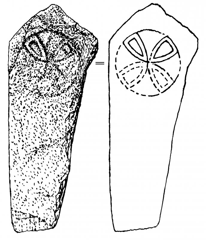 Digital copy of drawing of A'Chill, Isle of Muck, cross-incised slab (no.1).