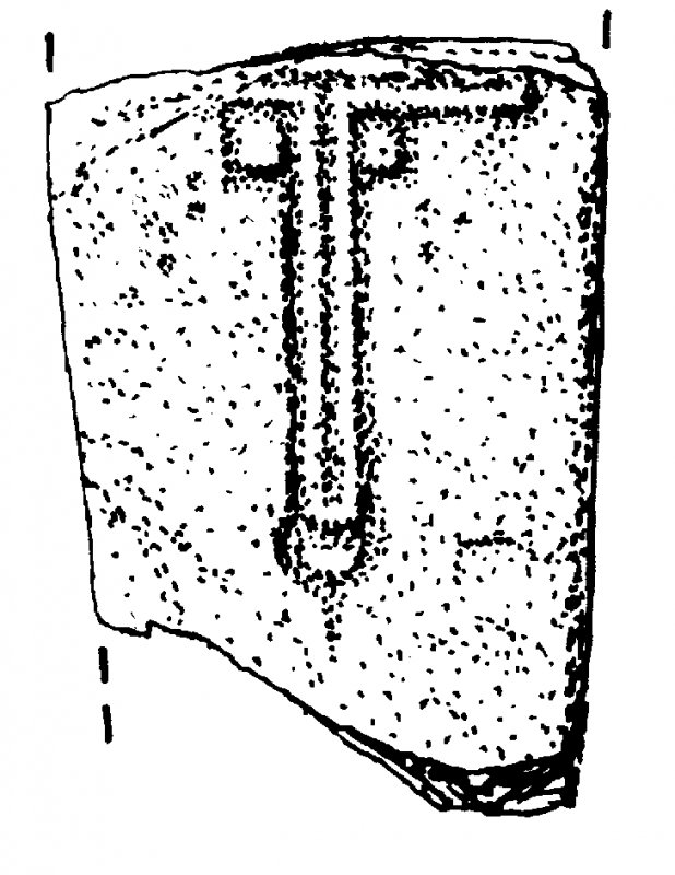 St Donnan's Church, Eigg. Fragment of cross-marked slab 1. Digital copy of DC 41468.