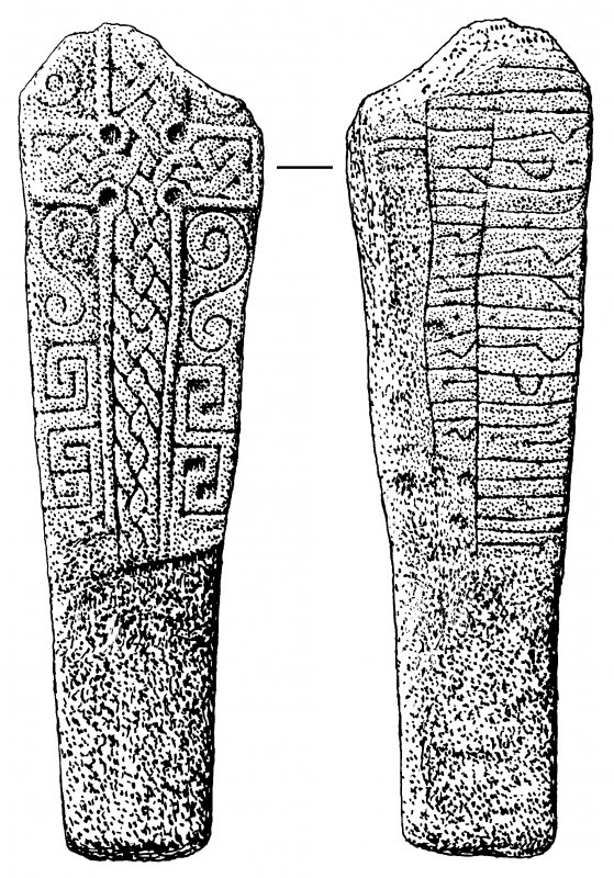 Cille-bharra, Barra. Cross-slab, rune inscribed rear face.